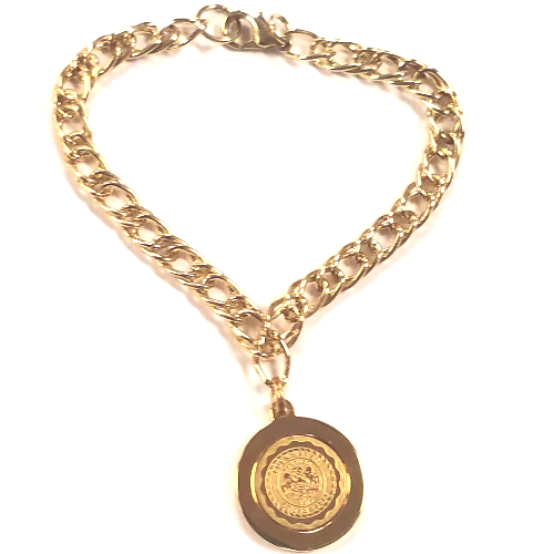 Image For Gold Plated Lock Haven University Seal Bracelet